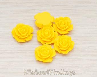 CBC157-01-YE // Yellow Colored  Medium Angelique Rose Flower Flat Back Cabochon, 4 Pc