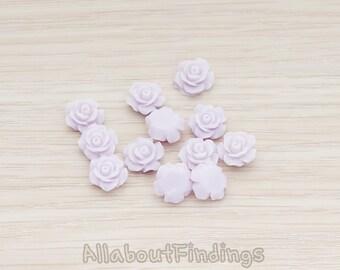 CBC157-04-LA // Lavender Colored XSmall Angelique Rose Flower Flat Back Cabochon, 8 Pc