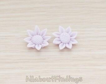 CBC205-LA // Lavender Colored Mini Sunflower Back Cabochon, 6 Pc