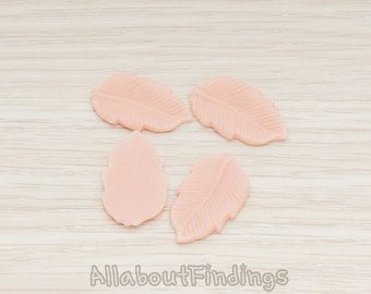 CBC508-PP // Pale Pink Colored Flat Leaf Flat Back Cabochon, 6 Pc