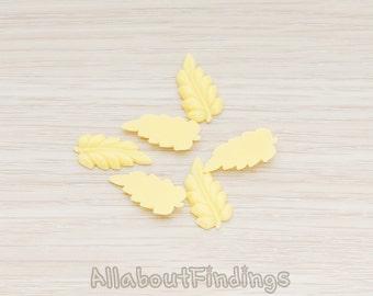 CBC507-BU // Butter Colored Long Leaf Flat Back Cabochon, 6 Pc