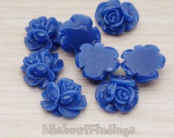 CBC214-01-DB // Dark Blue Colored Full Bloom Rose Flower Flat Back Cabochon, 4 Pc