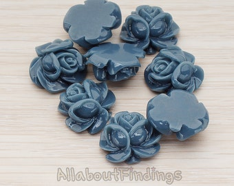 CBC214-01-NA // Navy Colored Full Bloom Rose Flower Flat Back Cabochon, 4 Pc
