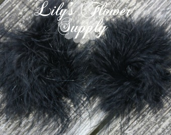 Marabou Feather Puffs - Set of 2 - Black - Feather Puff