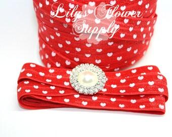 Red White Heart Fold Over Elastic - 5/8 Fold Over Elastic - FOE - Foldover Elastic - Elastic by the yard - Shiny Elastic - Headband
