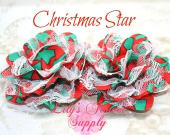 Lace Flower - Set of TWO - Christmas Star - Chiffon Flower - Lace rose - Shredded Lace Flower - Wholesale - Supply - DIY- 3.75 inch