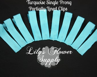 Turquoise Lined Clips - Single Prong - Partially Lined Clips - Alligator Hair Clips - Set of 10 - 45 mm