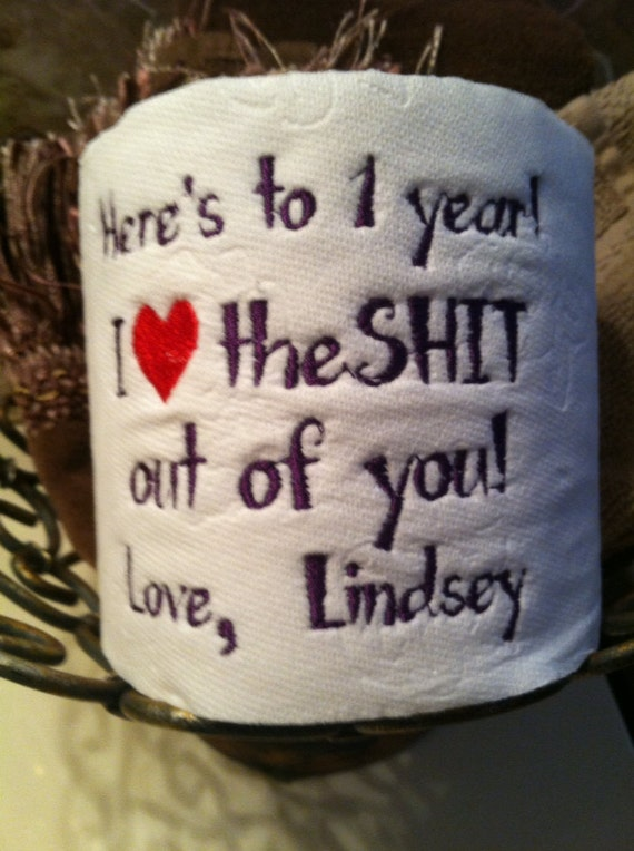 Custom embroidered toilet paper for 1st paper by tootsiesgirls for 1st year anniversary gifts for her