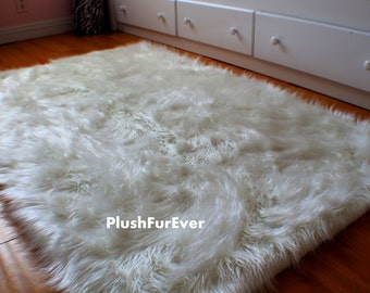 4 X 5 Luxury Black Brown White Faux Fur Rug Long