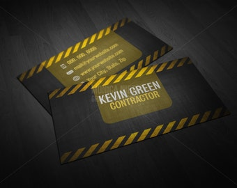 Printable Custom General Contractor Business Card/ Builder Manager Construction Business Card
