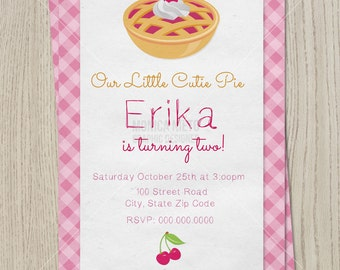 Cutie Pie Birthday Party Invitation/ Cutie Pie Baby Shower/ Girls Invitation