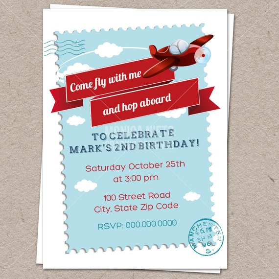 Airplane Birthday Party Get Ready For Takeoff: Retro Airplane Birthday Invitation/ Aviator Invitation