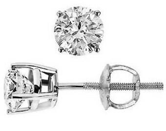 0.47 CT G VS1 Round Cut Diamond Stud Earrings 14K White Gold Screw Back