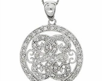 0.4CT F-G VS-SI round cut Diamond pendant in 14k white gold