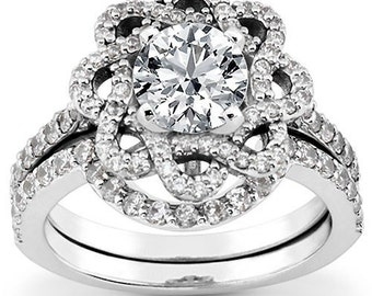1.30CT Round Cut Solitaire Diamond Engagement Ring 14K White Gold BRidal Set