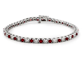 1.80 Cttw F SI Round Diamonds and Ruby Tennis Bracelet in 10K White Gold