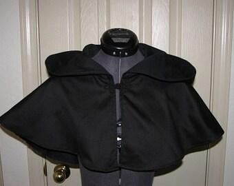 Medieval Renaissance Black Cloak Cape Mantle Hood