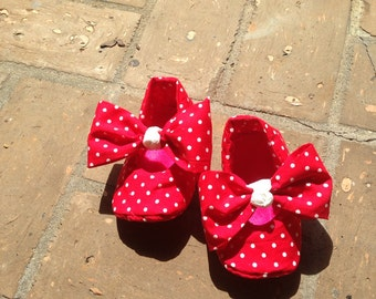 Red Polkadot Baby Girl Shoes