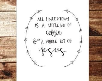 Jesus & Coffee Print