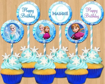 Frozen Cupcake Toppers - Disney Frozen Cupcake Toppers - Printable 2 inch Birthday Party Circle Favor Tag Card matches Invitation Decoration