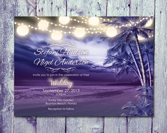 Printed Card | 50-75 Sets | Paradise Night Beach Wedding Invitation and Reply Card Set - Wedding Stationery - ID309