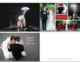 Thanks Wedding Card Folded 5x7 | Photo Collage Wedding Day | First Dance First Kiss | Personal Message | Newly Married Couple