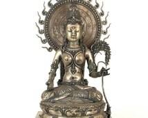 Devi Sri on throne - Beautiful Indonesian Hindu statue