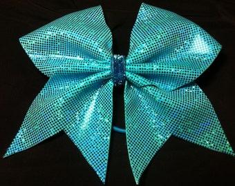 """3"""" Cheer Bow-Teal blue sparkle"""