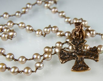 Iron Maiden Necklace - Gorgeous fresh water pearl necklace with a rugged bronze Maltese cross
