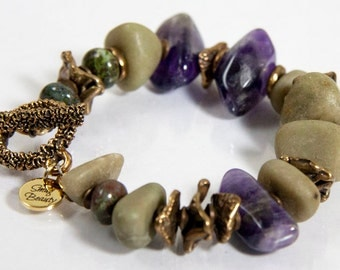Belladonna Bracelet - amethyst nuggets, bowenite nuggets, african brass and bronze
