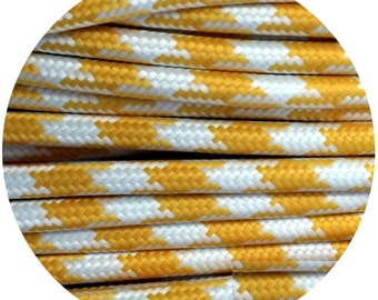 Fabric Textile cable wire for Lighting Round 2x0.75 in yellow/white cross