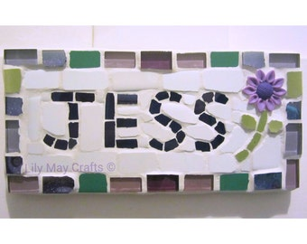 Mosaic name, word, plaque, sign, children's name plaques - made to order
