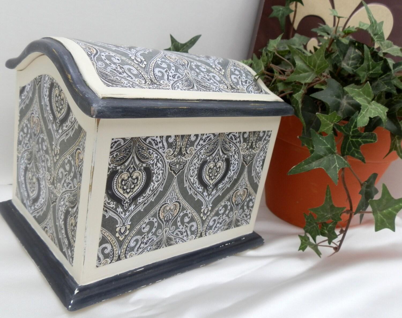 Recipe card box decorative upcycled wood storage box - Decoratie recup ...