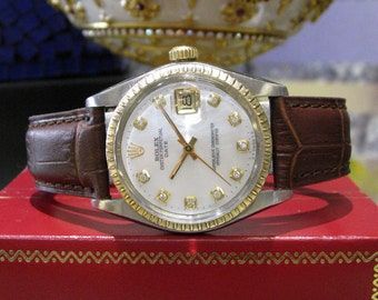 Mens Vintage ROLEX Oyster Perpetual Date Diamond Dial S/ Steel Yellow Gold Watch