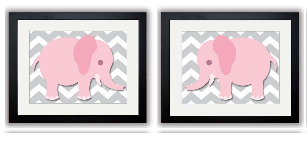 Grey Chevron Pink Elephant Nursery Art Nursery Print Set of 2 Elephants Child Art Prints Girl Kids R