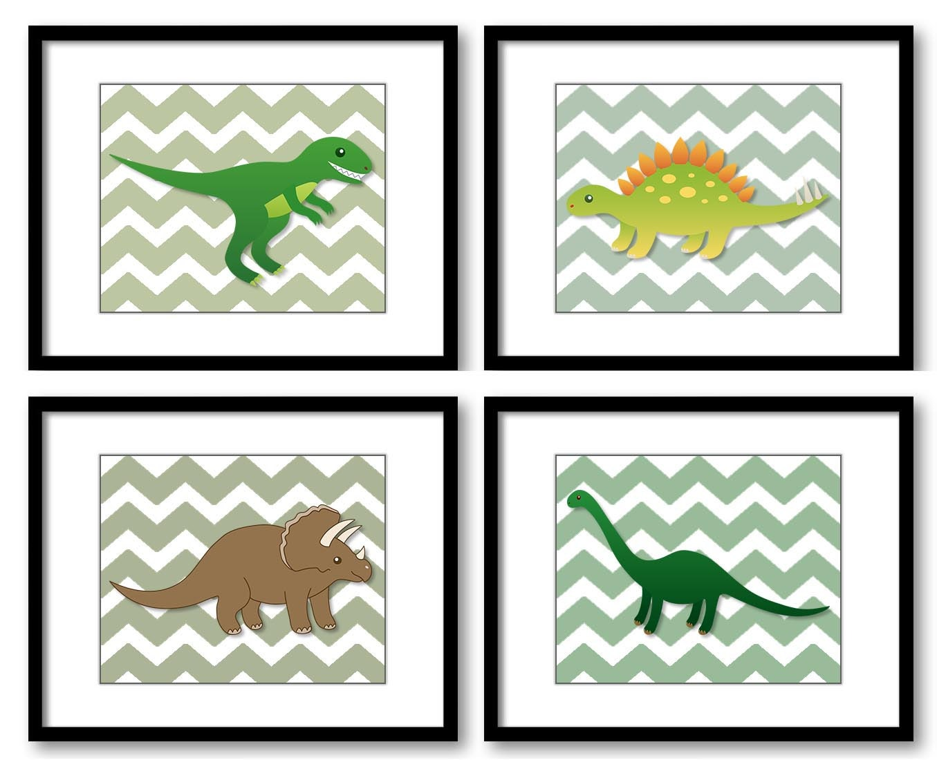 Dinosaur Green Brown Nursery Art Set of 4 Chevron Child Print Kid Room Wall Decor Boy Brontosaurus T