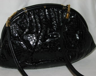 Vintage GUCCI bag snakeskin purse reptile  evening  clutch black very collectible rare