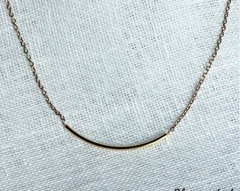 Collar tube silver chain or gold filled 14K