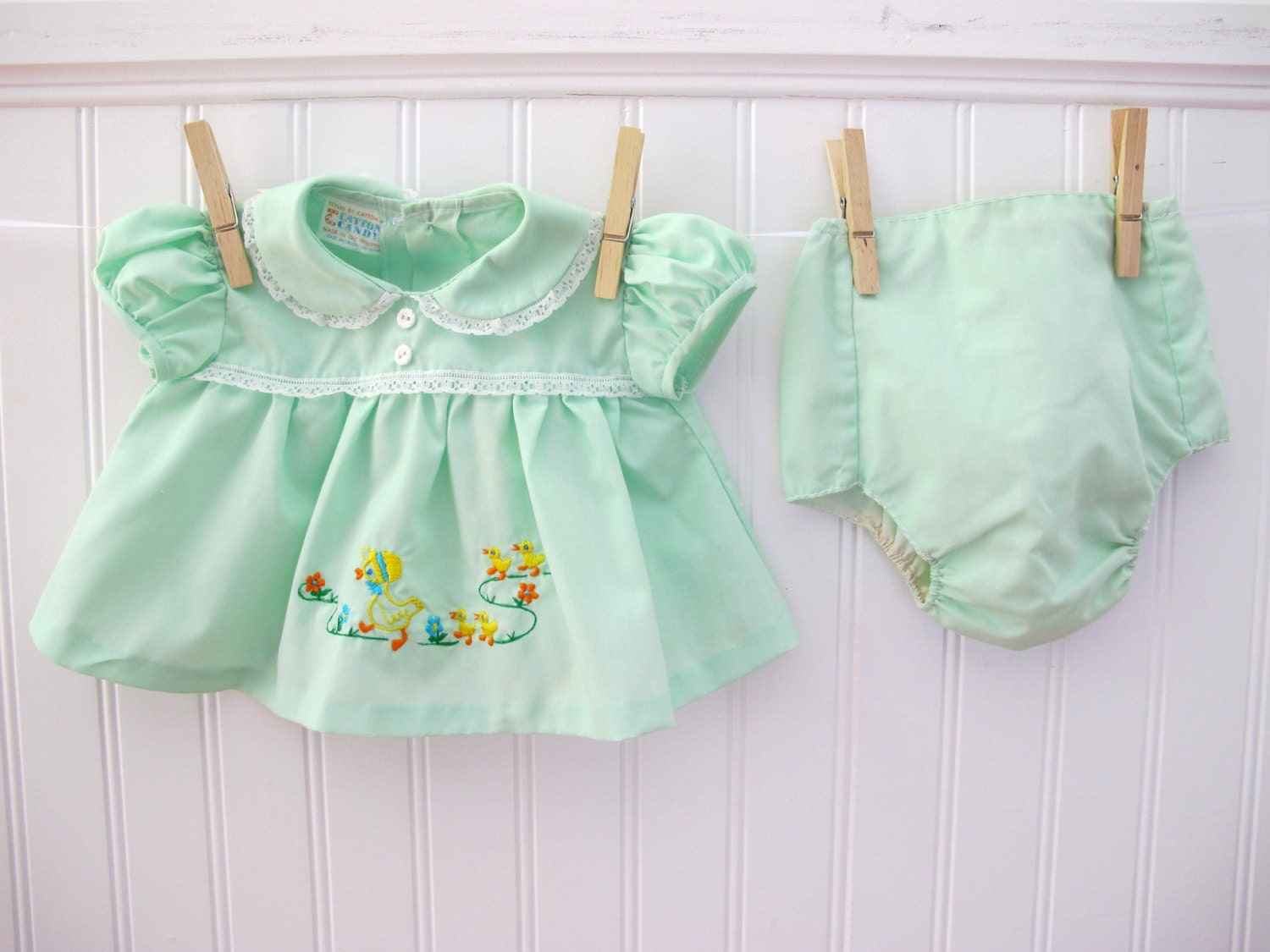 Vintage Baby Dress and Diaper Cover Green with Duck