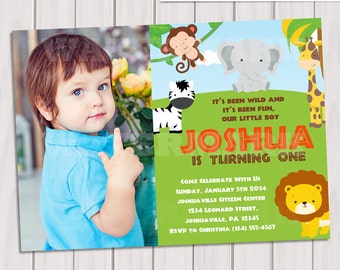 Jungle Birthday photo Invitation / Safari Birthday invitation photo/ Jungle Safari Invite / Zoo Birthday Invitation / Printable DIY PDF