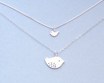 Mother Daughter Bird Necklace, Charm Necklace Set, Love Jewelry, Baby Bird, Mommy Bird, Bridesmaid Gift, Sparrow Charm, Tiny Bird