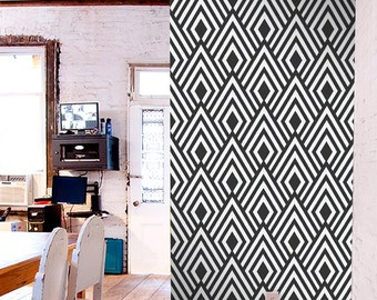 Removable self-adhesive modern vinyl Wallpaper wall sticker - Ikat pattern C004