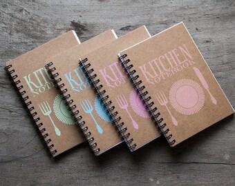 """4x6"""" Kraft paper notebook set of 4, foodie recipe book, kitchen journal organizer, favor pocket notebook, blank book, kitchen accessories"""