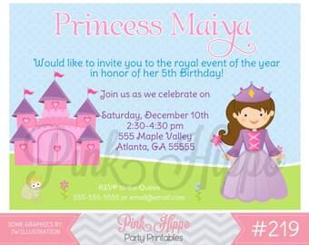 Sweet Princess:219-Children's Birthday Invitation, Personalized, Digital, Printable, JPEG
