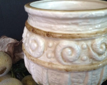 vintage ceramic Napcoware footed textural planter ivory dark stain details