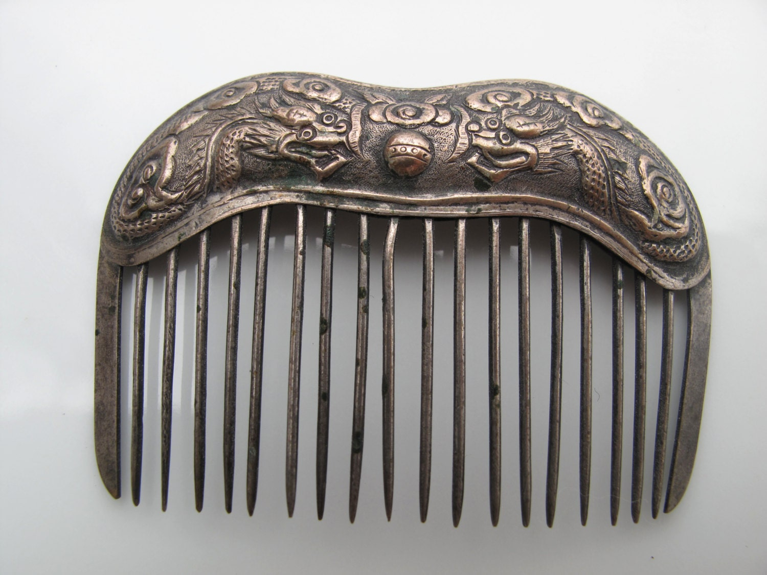 Antique Vintage Chinese Silver Hair Comb With Dragons