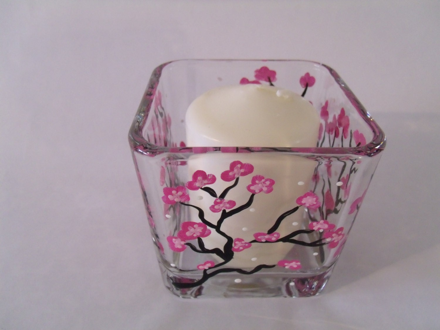 Hand Painted Glass Candle Holder Cherry Blossom Candle