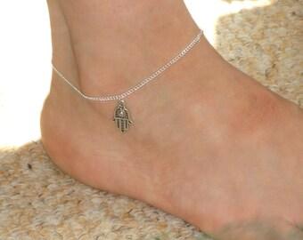 Silver anklet, hamsa hand ankle bracelet, Hamsa hand jewelry, Silver hamsa ankle bracelet, Hamsa jewelry, Ankle bracelet UK