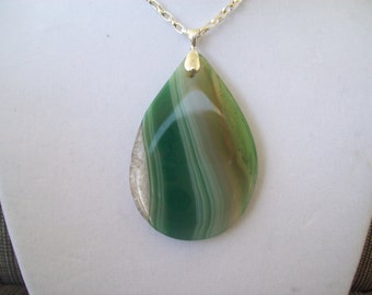 Green Striped Agate pendant with chain