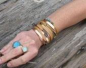 Boho Leather Cuff with Turquoise, Bronze and Feather Charms